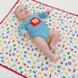 Színes vidám baba pléd/törölköző - a legpuhább, bőrbarát biopamutból
