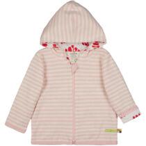 Kifordítható, kapucnis, zipzáros gyerek pulóver biopamutból