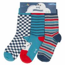 3 pár 90% organikus pamut kisfiú gyerek zokni