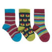 3 pár kényelmes biopamut baba zokni róka mintával