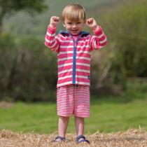 Biopamut, piros csíkos gyerek rövidnadrág