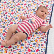 Allergénmentes, Organikus csíkos pamut baba body vitorlással