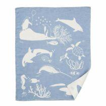 Klippan biopamut babapléd, Sealife kék 70*90