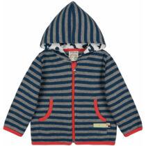 Kapucnis, zipzáros, csíkos gyerek pulóver biopamutból