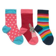 3 pár vidám színes pihe-puha baba zokni nyuszi mintával