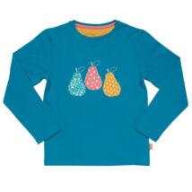 Hosszú ujjú puha biopamut kislány póló - vidám körtékkel