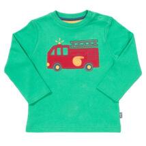 Tűzoltó autós vidám biopamut újszülött póló