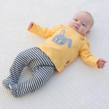 Nyuszis szett babáknak (póló + talpas nadrág)