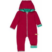 Designer, kifordítható, meleg baba overál, kapucnival organikus pamutból