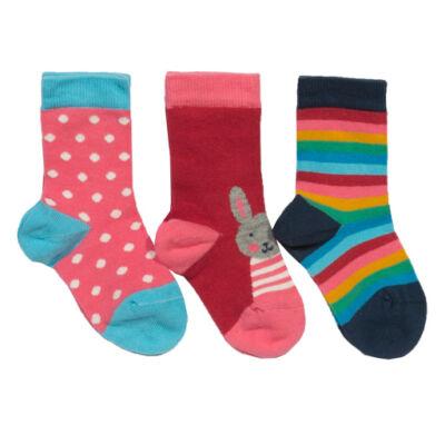 3 pár vidám színes pihe-puha kislány zokni nyuszi mintával