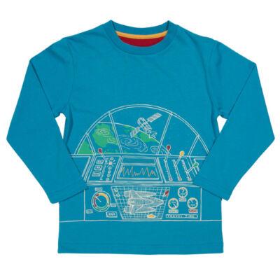 Kényelmes biomaput kisfiú póló - űrállomással