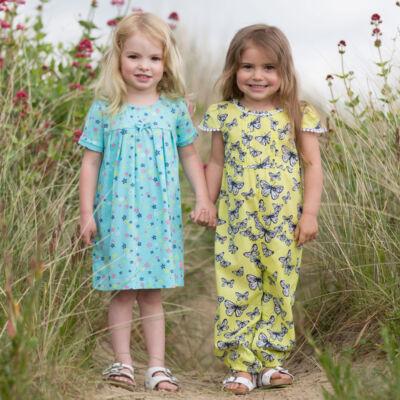 NaturAnyu Babaruha-Gyerekruha Bájos, csillagmintás nyári kislány ruha