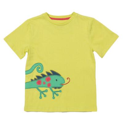 Vidám színes kisfiú póló iguanával