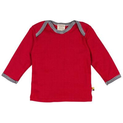 Finom puha, piros hosszú ujjú baba póló