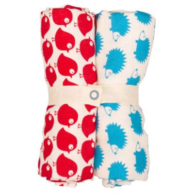 Selymesen puha textilpelenka vidám madárka és süni mintával