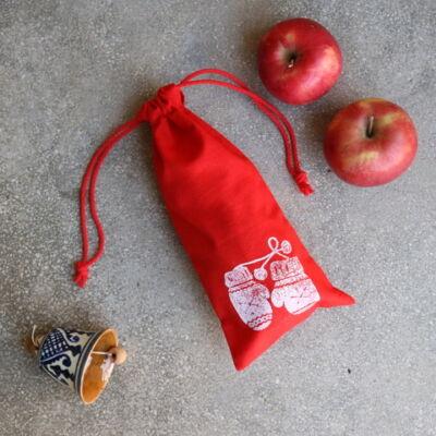 Mikulás zsák, ökozsák piros kesztyű mintával - S
