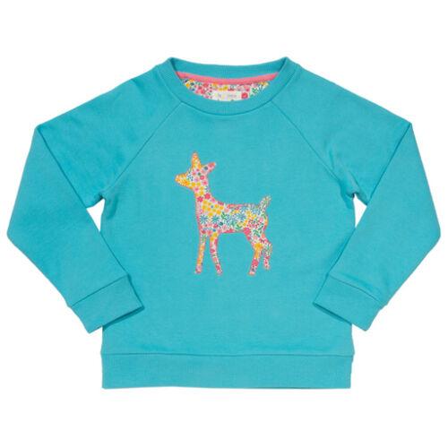 Bársonyosan puha biopamut kislány pulcsi - kedves őzike mintával