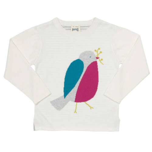 Meseszép selymesen puha kötött pulóver madárka mintával