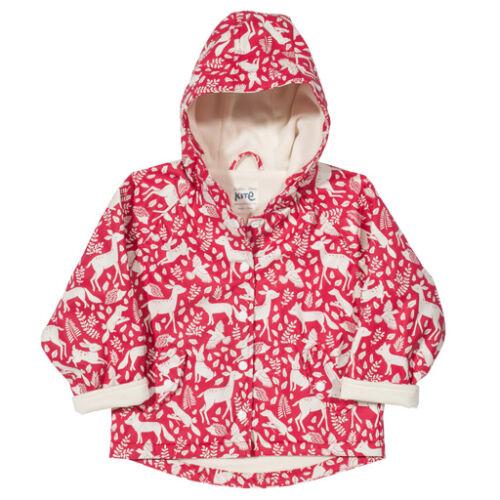 Vízálló bélelt átmeneti gyerek kabát - kedves erdei állatkákkal