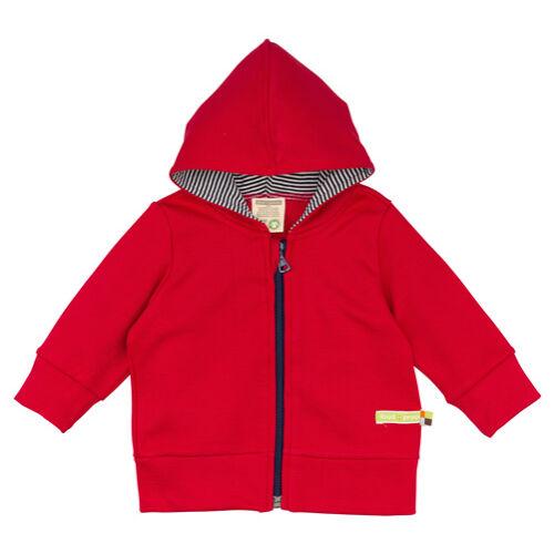 Kapucnis, zipzáras baba pulóver piros színben