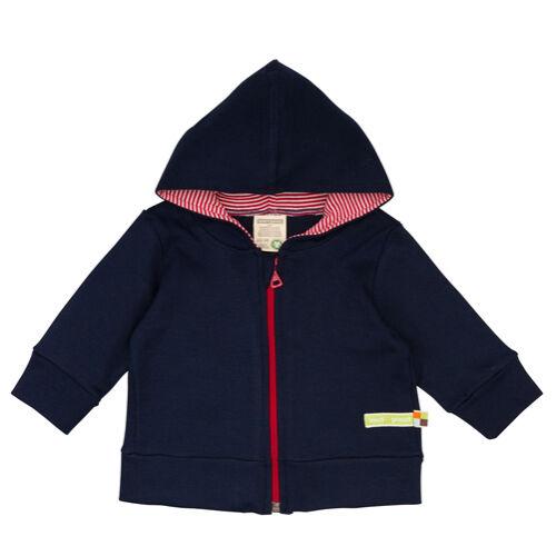 Kapucnis, zipzáras baba pulóver sötétkék színben
