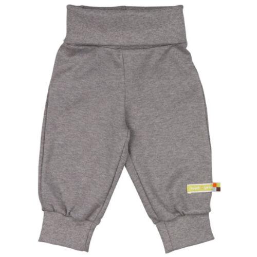 Selymesen puha, szürke baba nadrág magasított derékrésszel