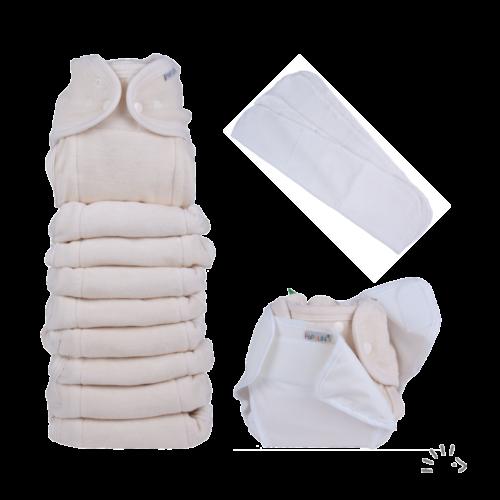 Egyméretes puha pamut mosható pelenka szett natúr színben - PoPoLiNi